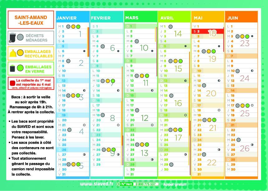 Siaved calendrier de collecte 2020 ville de saint - Piscine saint amand les eaux horaires ...